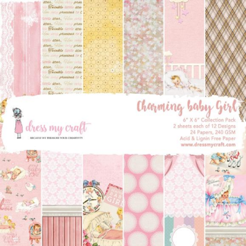 Dress My Craft 6x6 Paper Pad: Charming Baby Girl