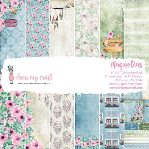 Dress My Craft 6x6 Paper Pad: Magnolias