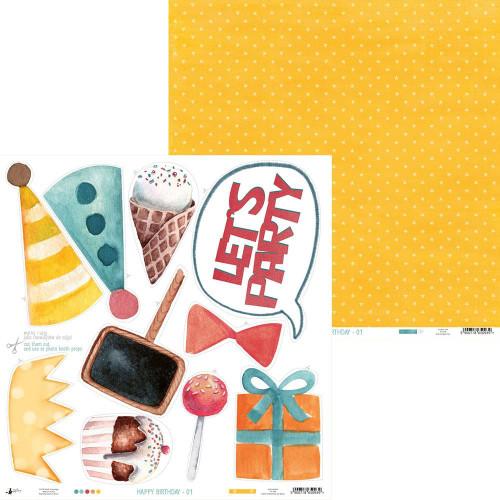 P13 Happy Birthday 12x12 Paper: 01