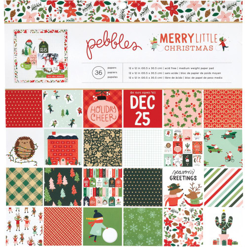 Pebbles 6x6 Paper Pad: Merry Little Christmas (Single-Sided)