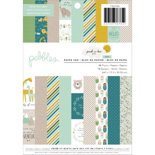 Pebbles 6x8 Paper Pad: Peek-A-Boo Boy (Single-Sided)