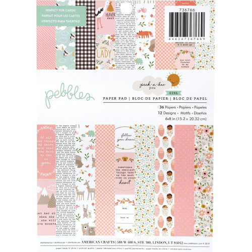 Pebbles 6x8 Paper Pad: Peek-A-Boo Girl (Single-Sided)
