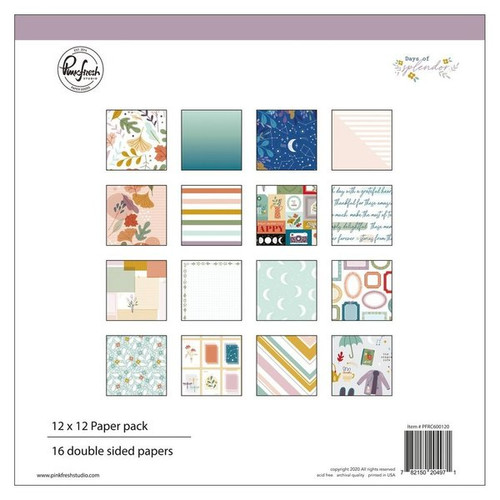 Pinkfresh Studio Days of Splendor 12 x 12 Paper Pack (16 double sided papers, 2 of each design)