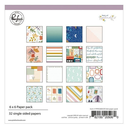 Pinkfresh Studio Days of Splendor 6x6 Paper Pack (32 single sided papers, 2 of each design)