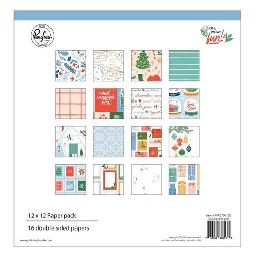 Pinkfresh Studio Oh What Fun 12 x 12 Paper Pack (16 double sided papers, 2 of each design)