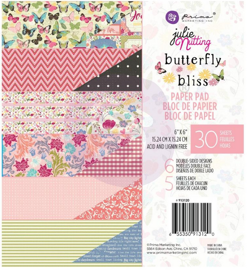 Prima Marketing 6x6 Paper Pad: Butterfly Bliss
