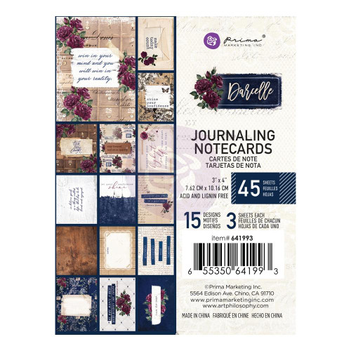 Prima Marketing Darcelle 3x4 Journaling Notecards