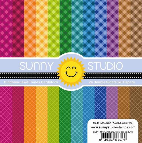 Sunny Studio 6x6 Paper Pad: Gingham Jewel Tones