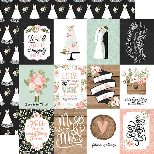 Echo Park Our Wedding 12x12 Paper: 3X4 Journaling Cards