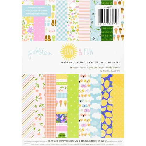 Pebbles 6x8 Paper Pad: Sun & Fun (Single-Sided)
