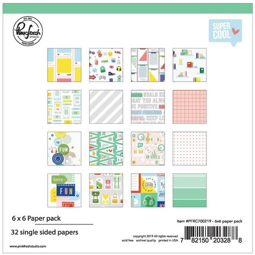 Pinkfresh Studio Super Cool 6x6 paper pack (32 single sided papers, 2 of each design)
