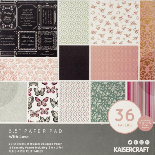 KaiserCraft With Love 6.5x6.5 Paper Pad (w/diecuts)
