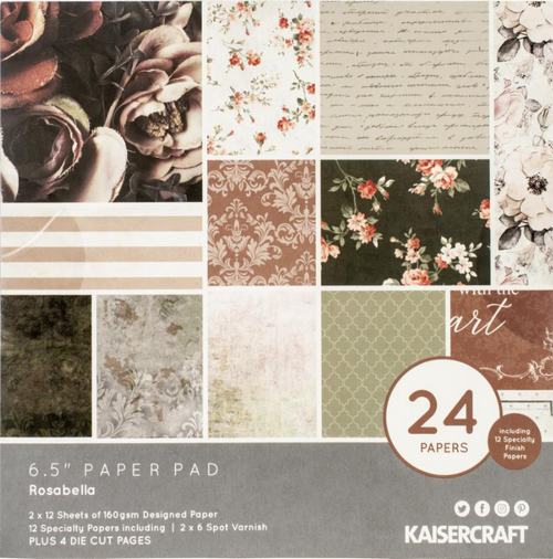 KaiserCraft Rosabella 6.5x6.5 Paper Pad (w/diecuts)
