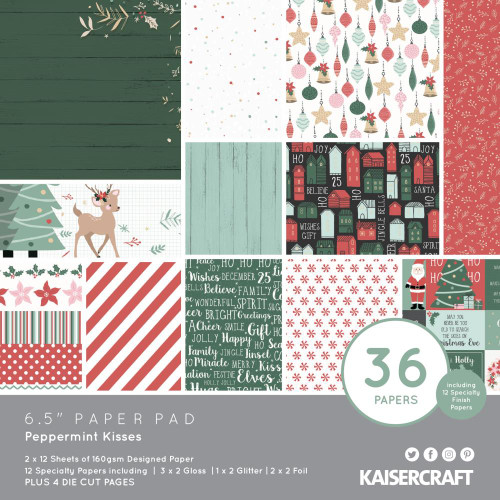 KaiserCraft Peppermint Kisses 6.5x6.5 Paper Pad (w/diecuts)