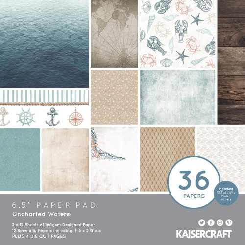KaiserCraft Uncharted Waters 6.5x6.5 Paper Pad (w/diecuts)