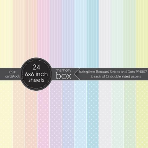 Memory Box 6x6 Paper Pad: Springtime Bouquet Stripes & Dots
