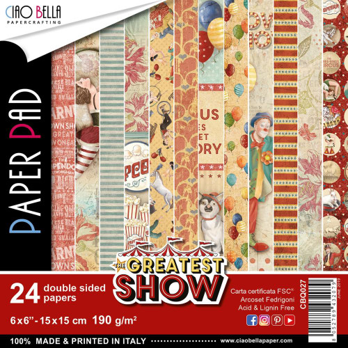Ciao Bella Papercrafting 6x6 Paper Pad: The Greatest Show