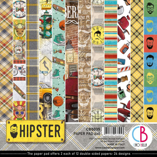 Ciao Bella Papercrafting 6x6 Paper Pad: Hipster
