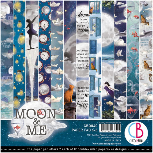 Ciao Bella Papercrafting 6x6 Paper Pad: Moon & Me