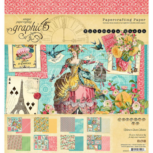 Graphic 45 Ephemera Queen 8x8 Paper Pad
