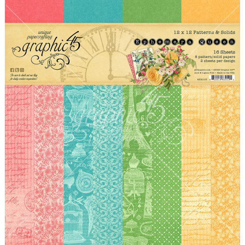 Graphic 45 Ephemera Queen 12x12 Patterns & Solids Paper Pad
