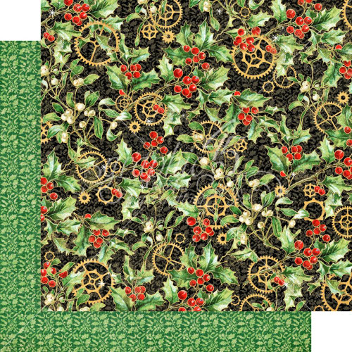 Graphic 45 Christmas Time 12x12 Paper: Holly and Mistletoe