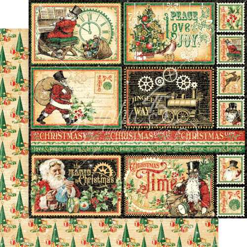 Graphic 45 Christmas Time 12x12 Paper: North Pole Express