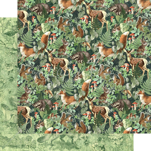 Graphic 45 Woodland Friends 12x12 Paper: Be Wild