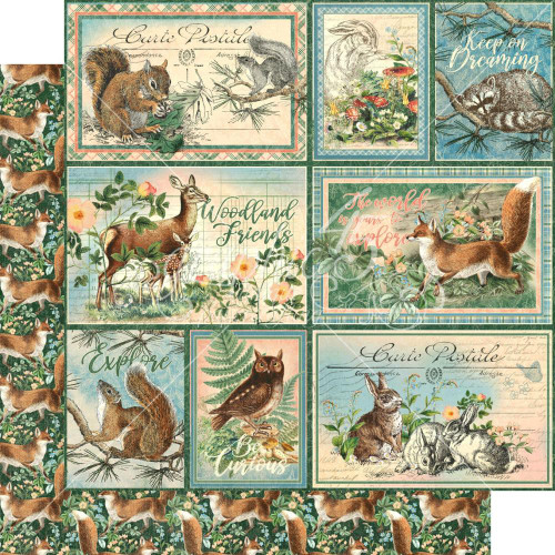 Graphic 45 Woodland Friends 12x12 Paper: Be Clever