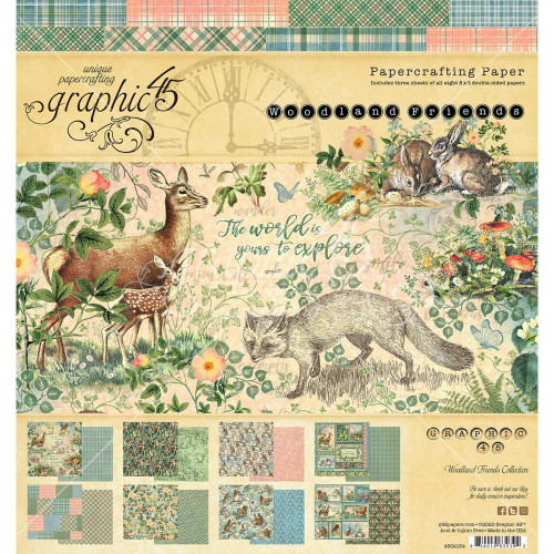 Graphic 45 Woodland Friends 8x8 Paper Pad