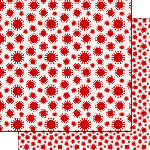 Scrapbook Customs Covid19 12x12 Paper: Virus Red
