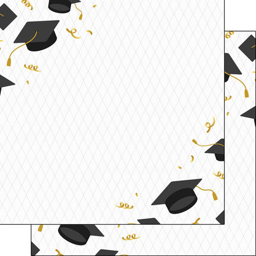 Scrapbook Customs Graduation 12x12 Paper: Graduation Corners