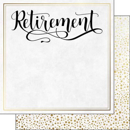 Scrapbook Customs 12x12 Retirement Themed Paper: Retirement Script