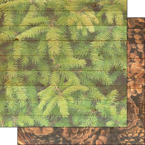 Scrapbook Customs 12x12 Outdoor Themed Paper: Life is Better - Pine Tree/Pine Cone