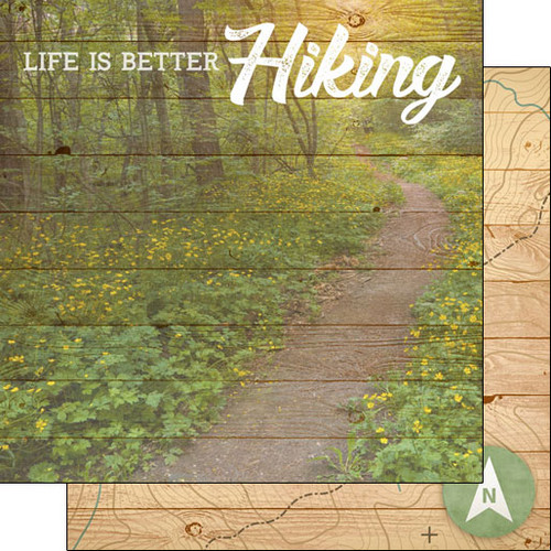 Scrapbook Customs 12x12 Outdoor Themed Paper: Life is Better - Hiking