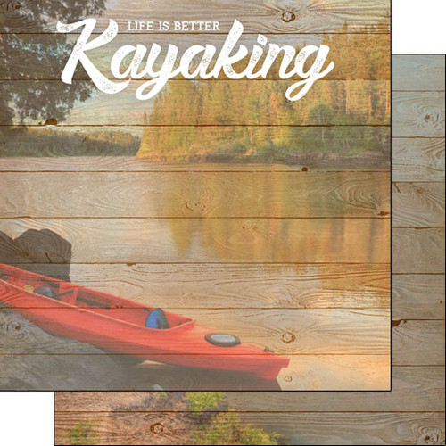 Scrapbook Customs 12x12 Outdoor Themed Paper: Life is Better - Kayaking