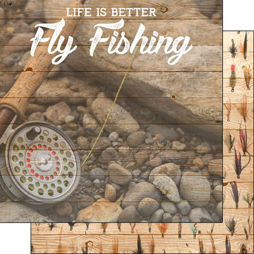 Scrapbook Customs Life is Better 12x12 Paper: Fly Fishing
