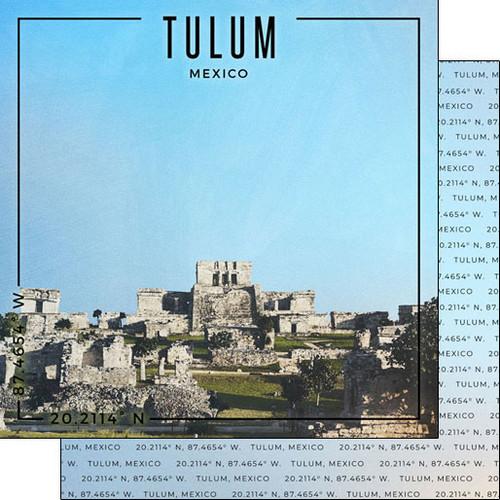 Scrapbook Customs Travel Coordinates 12x12 Paper: Tulum