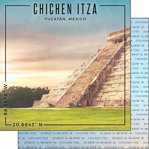 Scrapbook Customs Travel Coordinates 12x12 Paper: Chichen Itza