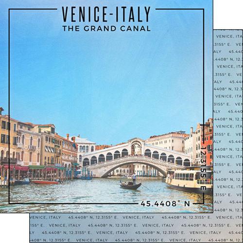 Scrapbook Customs Travel Coordinates 12x12 Paper: Venice Italy
