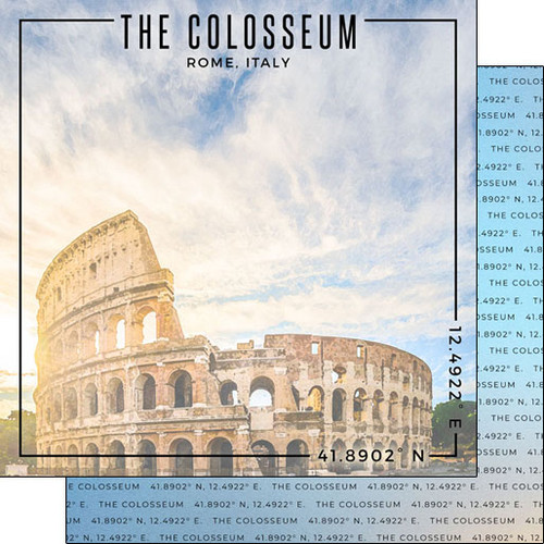 Scrapbook Customs Travel Coordinates 12x12 Paper: The Colosseum