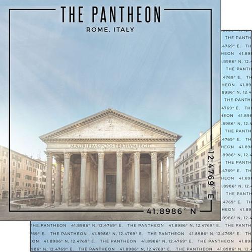 Scrapbook Customs Travel Coordinates 12x12 Paper: The Pantheon