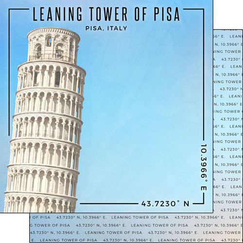 Scrapbook Customs Travel Coordinates 12x12 Paper: Leaning Tower of Pisa