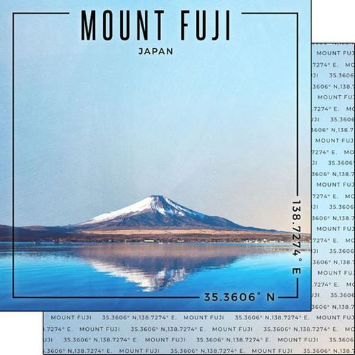 Scrapbook Customs Travel Coordinates 12x12 Paper: Mount Fuji