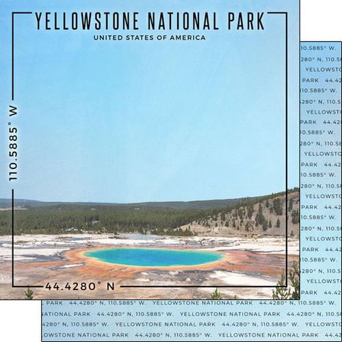 Scrapbook Customs Travel Coordinates 12x12 Paper: Yellowstone National Park