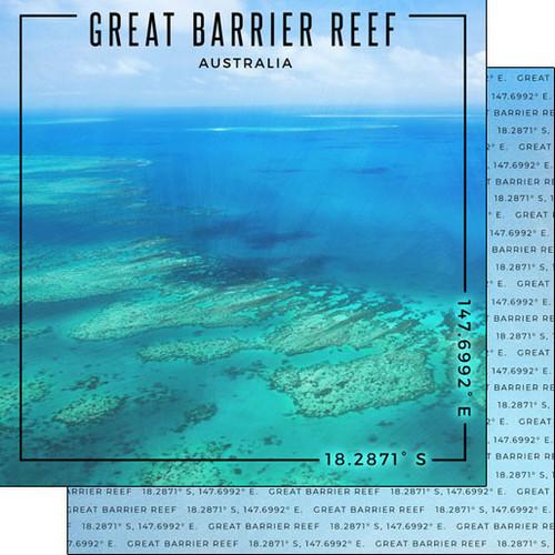 Scrapbook Customs Travel Coordinates 12x12 Paper: Great Barrier Reef