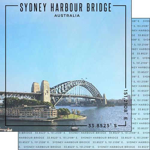 Scrapbook Customs Travel Coordinates 12x12 Paper: Sydney Harbour Bridge