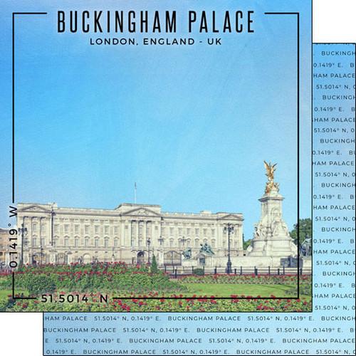 Scrapbook Customs 12x12 Travel Themed Paper: Coordinates - Buckingham Palace