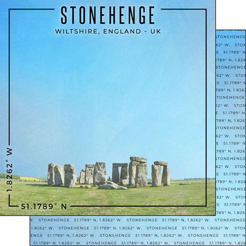 Scrapbook Customs Travel Coordinates 12x12 Paper: Stonehenge