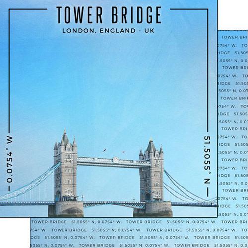Scrapbook Customs Travel Coordinates 12x12 Paper: Tower Bridge